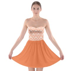 Nectarine Orange Damask Pattern Strapless Dresses by Zandiepants