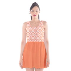 Nectarine Orange Damask Pattern Scoop Neck Skater Dress by Zandiepants