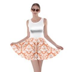 Nectarine Orange Damask Pattern Skater Dress by Zandiepants