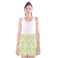 Spring Green Damask Pattern Scoop Neck Skater Dress by Zandiepants