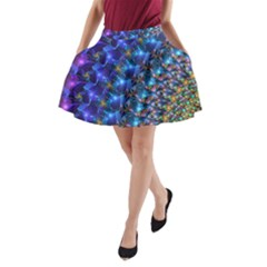 Blue Sunrise Fractal A-Line Pocket Skirt by KirstenStar