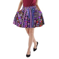 Stained Glass Tribal Pattern A Line Pocket Skirt by KirstenStar