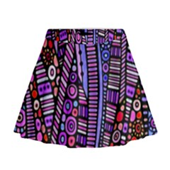 Stained Glass Tribal Pattern Mini Flare Skirt
