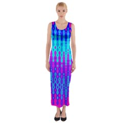 Melting Blues And Pinks Fitted Maxi Dress by KirstenStar
