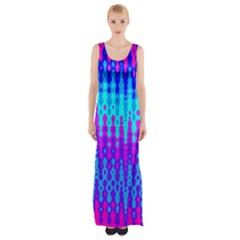 Melting Blues And Pinks Maxi Thigh Split Dress by KirstenStar