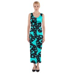 Teal On Black Funky Fractal  Fitted Maxi Dress by KirstenStar