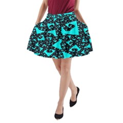 Teal on Black Funky Fractal  A-Line Pocket Skirt by KirstenStar