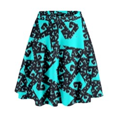 Teal On Black Funky Fractal  High Waist Skirt by KirstenStar