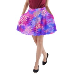Pink And Purple Marble Waves A Line Pocket Skirt