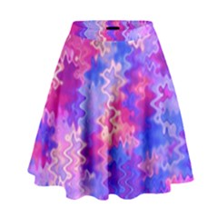 Pink And Purple Marble Waves High Waist Skirt by KirstenStar