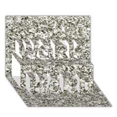 Black And White Abstract Texture Work Hard 3d Greeting Card (7x5)  by dflcprints