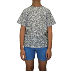 Black And White Abstract Texture Print Kid s Short Sleeve Swimwear by dflcprintsclothing