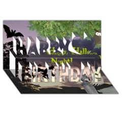 Happy Halloween Night Witch Flying Happy Birthday 3d Greeting Card (8x4)  by canvasngiftshop