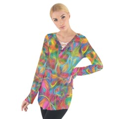Colorful Autumn Women s Tie Up Tee