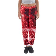 Red Fractal Lace Women s Jogger Sweatpants by KirstenStar