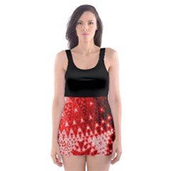 Red Fractal Lace Skater Dress Swimsuit by KirstenStar