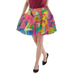Colorful Floral Abstract Painting A Line Pocket Skirt by KirstenStar
