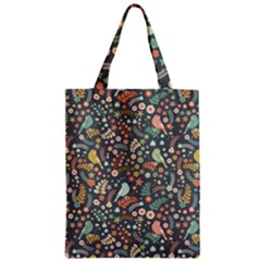 Vintage Flowers And Birds Pattern Zipper Classic Tote Bag by TastefulDesigns