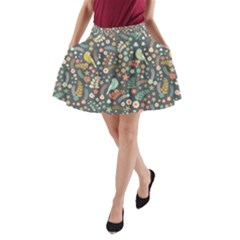 Vintage Flowers And Birds Pattern A Line Pocket Skirt