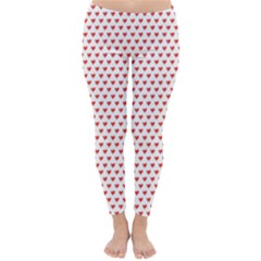 Red Small Hearts Pattern Winter Leggings  by CircusValleyMall