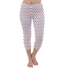 Ruby Red Small Hearts Pattern Capri Winter Leggings  by CircusValleyMall