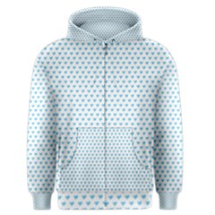 Sky Blue Small Hearts Pattern Men s Zipper Hoodie by CircusValleyMall