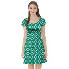 Emerald Green Quatrefoil Pattern Short Sleeve Skater Dress by Zandiepants
