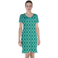 Emerald Green Quatrefoil Pattern Short Sleeve Nightdress by Zandiepants