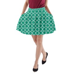 Emerald Green Quatrefoil Pattern A Line Pocket Skirt by Zandiepants