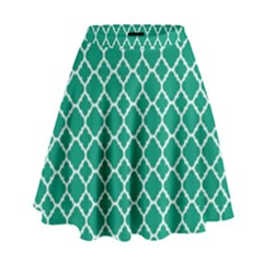 Emerald Green Quatrefoil Pattern High Waist Skirt by Zandiepants