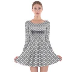 Grey Quatrefoil Pattern Long Sleeve Skater Dress by Zandiepants