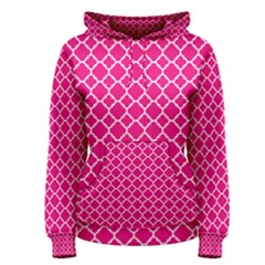 Hot Pink Quatrefoil Pattern Women s Pullover Hoodie by Zandiepants