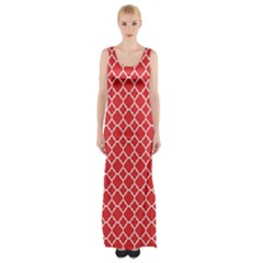 Poppy Red Quatrefoil Pattern Maxi Thigh Split Dress by Zandiepants