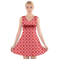 Poppy Red Quatrefoil Pattern V-Neck Sleeveless Dress by Zandiepants