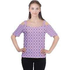 Lilac Purple Quatrefoil Pattern Women s Cutout Shoulder Tee by Zandiepants