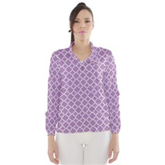 Lilac Purple Quatrefoil Pattern Wind Breaker (women) by Zandiepants