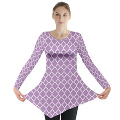 Purple Lilac White Quatrefoil Classic Pattern Long Sleeve Tunic  by Zandiepants