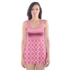 Soft Pink Quatrefoil Pattern Skater Dress Swimsuit