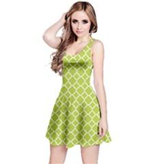 Spring Green Quatrefoil Pattern Reversible Sleeveless Dress by Zandiepants