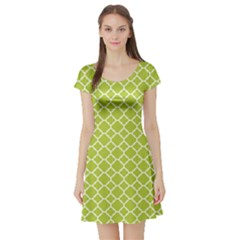 Spring Green Quatrefoil Pattern Short Sleeve Skater Dress by Zandiepants