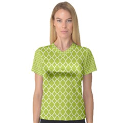 Spring Green Quatrefoil Pattern Women s V Neck Sport Mesh Tee by Zandiepants