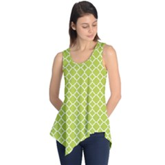 Spring Green Quatrefoil Pattern Sleeveless Tunic