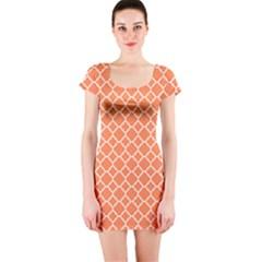 Tangerine Orange Quatrefoil Pattern Short Sleeve Bodycon Dress by Zandiepants