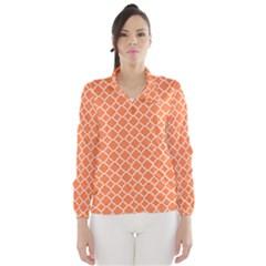 Tangerine Orange Quatrefoil Pattern Wind Breaker (women) by Zandiepants