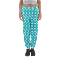 Turquoise Quatrefoil Pattern Women s Jogger Sweatpants by Zandiepants