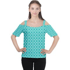 Turquoise Quatrefoil Pattern Women s Cutout Shoulder Tee by Zandiepants