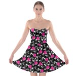 Queen Barbie Floral Polka Dot Print Skater Dress - Strapless Bra Top Dress