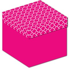 Hot Pink Quatrefoil Pattern Storage Stool 12  by Zandiepants