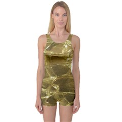 Gold Bar Golden Chic Festive Sparkling Gold  One Piece Boyleg Swimsuit by yoursparklingshop