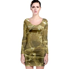 Gold Bar Golden Chic Festive Sparkling Gold  Long Sleeve Bodycon Dress by yoursparklingshop